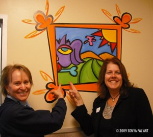 Christine Benniger and Laura Fulda love this mural!