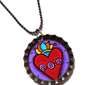 Hearts a Fire - Bottle Cap Pendant