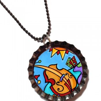 Hot Cello in the City - Bottle Cap Pendant