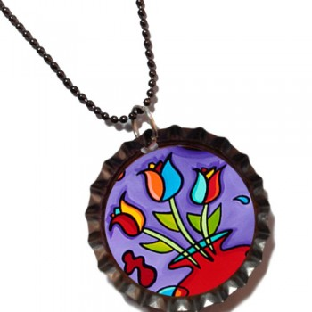 Tulip Fanciful- Bottle Cap Pendant