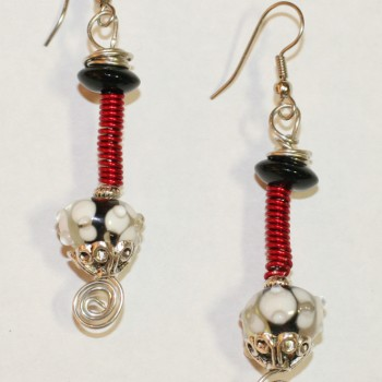 Red Coil Earrings