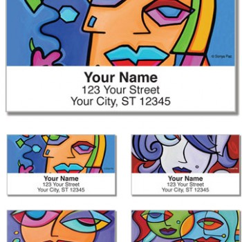 Sonya Paz - Cubist Gals Labels (Set of 4 designs)
