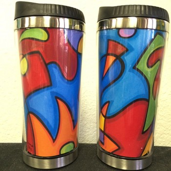 Thermal Travel Mug - Electro Magnetic Abstract