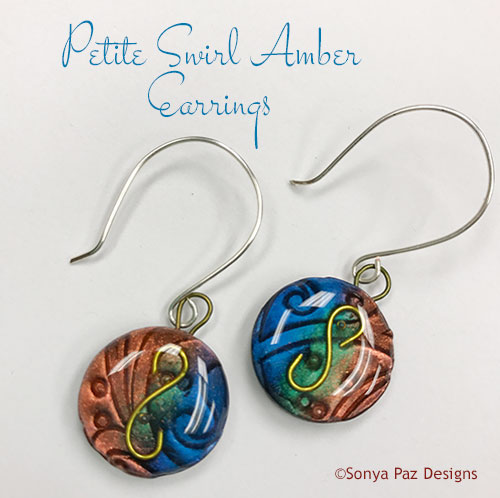 Petite Swirl Amber Earrings